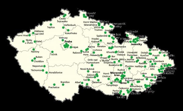 Mapa lokalit, kde Brontosauři pomáhají